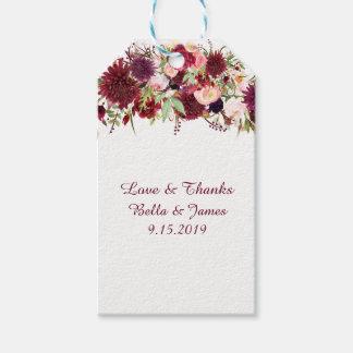 Étiquettes florales rouges de cadeau de faveur de