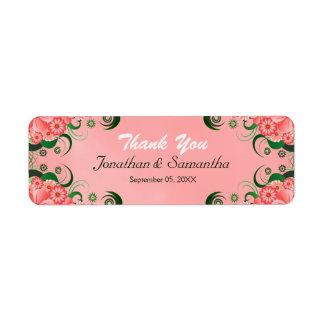 Étiquettes floraux roses de faveur de faveur de
