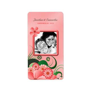 Étiquettes floraux roses de faveur de photo de étiquette d'adresse