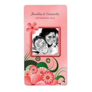 Étiquettes floraux roses de vin de photo de étiquette d'expédition