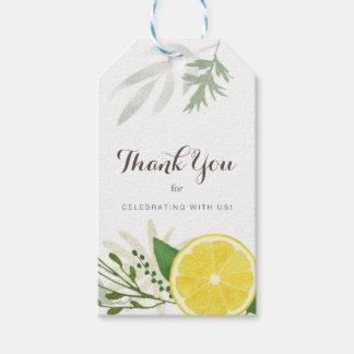 Étiquettes fraîches de cadeau de Merci de citron