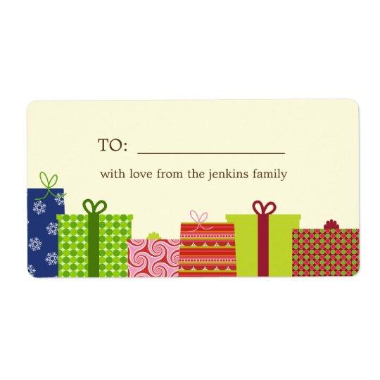 Étiquettes gais de cadeau de cadeaux