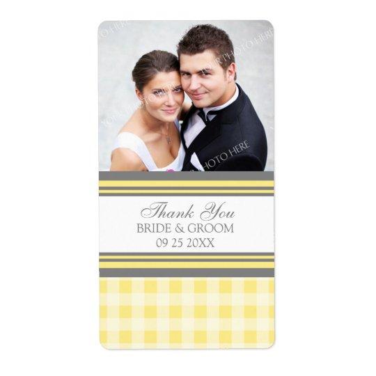 Étiquettes gris jaunes de mariage de photo de guin