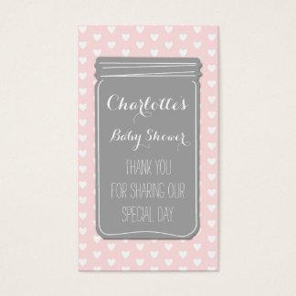 Étiquettes grises roses de faveur de baby shower cartes de visite