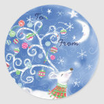 Étiquettes lunatiques de cadeau de Noël - bleu Adhésif Rond