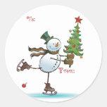 Étiquettes mignonnes de cadeau de Noël de bonhomme Autocollant Rond