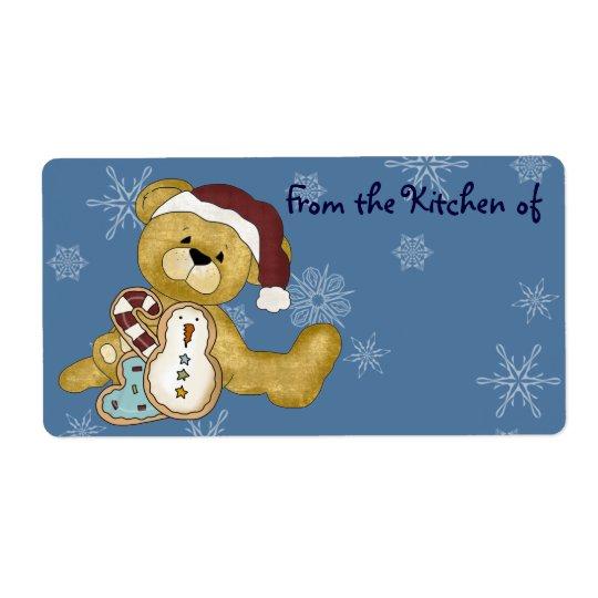 Étiquettes mignons de cuisine de Noël d'ours de