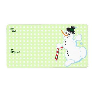 Étiquettes mignons de Noël de bonhomme de neige de