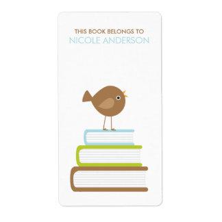 Étiquettes mignons d'ex-libris d'oiseau