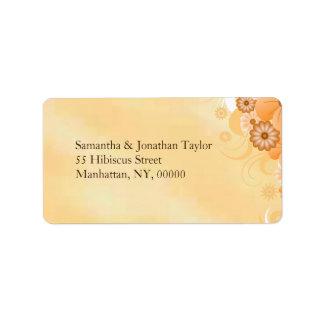 Étiquettes moyens floraux de mariage de ketmie ene étiquettes d'adresse