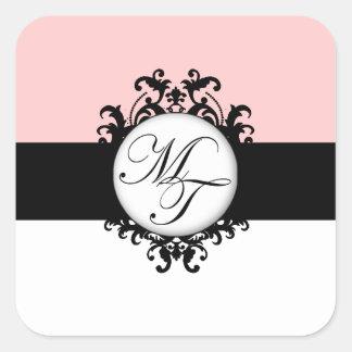 Étiquettes noirs français chics de damassé de la sticker carré
