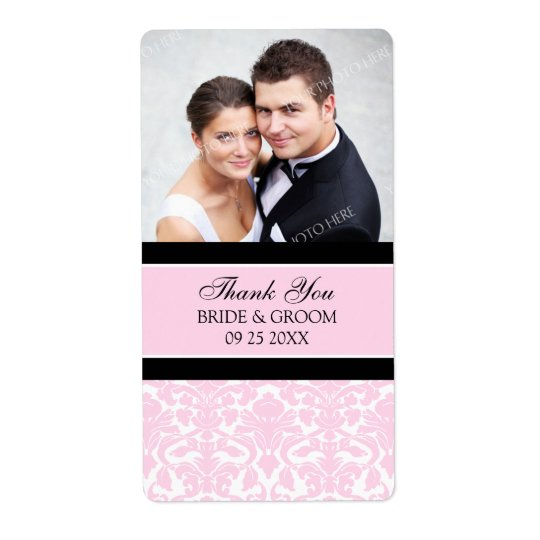 Étiquettes noirs roses de mariage de photo de dama