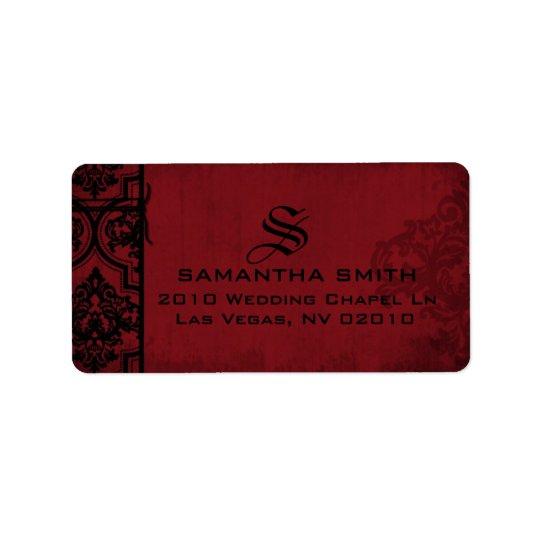 Étiquettes noirs rouges gothiques de mariage