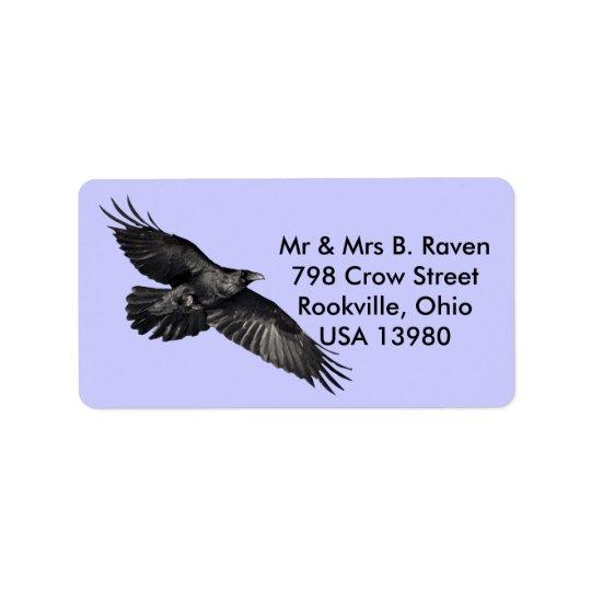 Étiquettes noirs volants d'Oiseau-amant de Raven