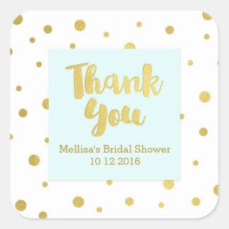 Étiquettes nuptiales de faveur de Merci de douche Sticker Carré