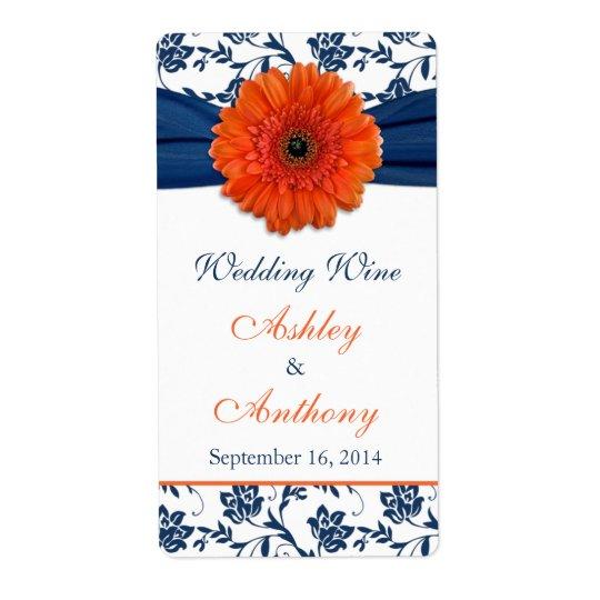 Étiquettes oranges de bouteille de vin de mariage