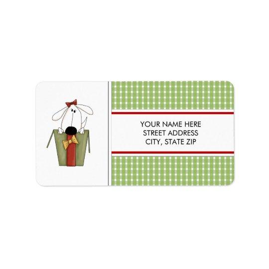 Étiquettes postales d'adresse de chiot de Noël