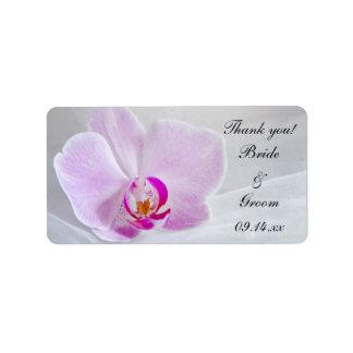 Étiquettes roses de faveur de Merci d'orchidée et