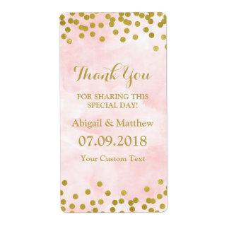 Étiquettes roses de mariage de confettis d'or