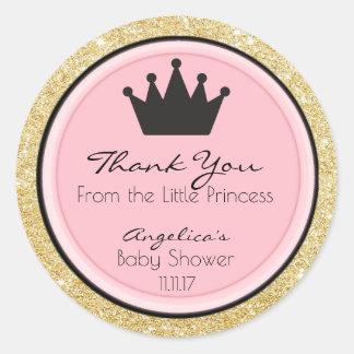 Étiquettes roses personnalisés de princesse baby sticker rond