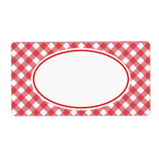 Étiquettes rouges classiques de cuisine de guingan
