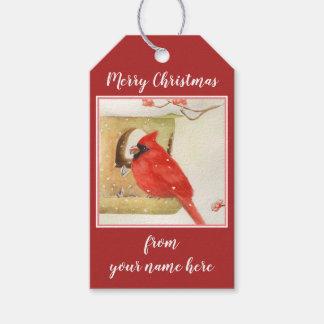 Étiquettes rouges de cadeau de canneberge de Noël