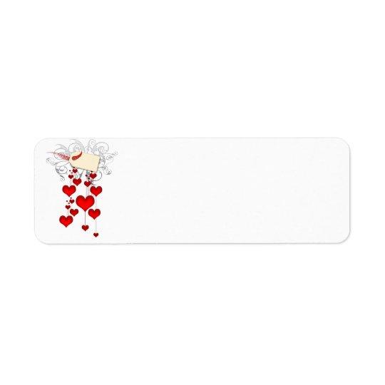 Étiquettes rouges de coeurs