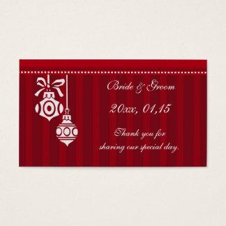 Étiquettes rouges de faveur de mariage de Noël de Cartes De Visite