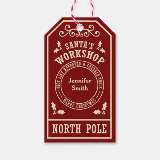 Étiquettes rouges de Noël de Pôle Nord de
