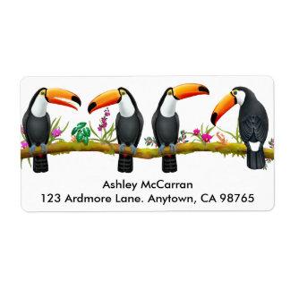 Étiquettes tropicaux d'oiseaux de toucan