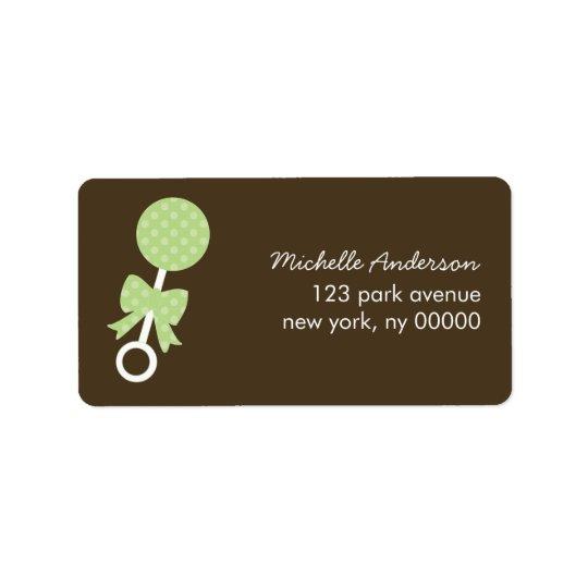 Étiquettes verts de baby shower de hochet de pois