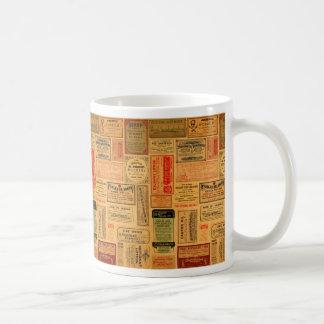 Étiquettes vintages d'apothicaire, médecine, mug blanc