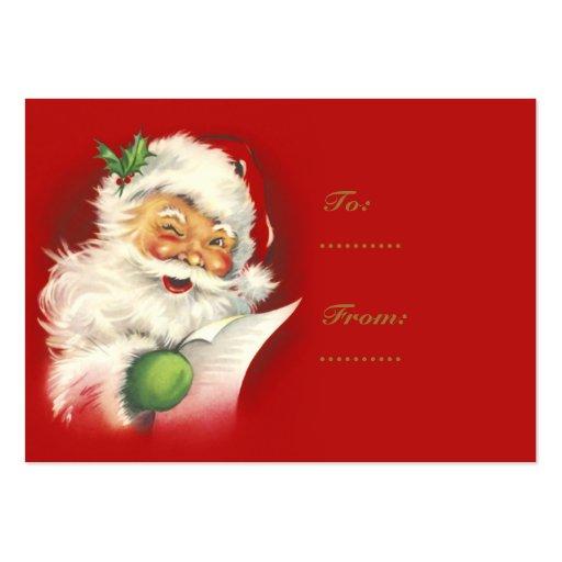 Tiquettes vintages de cadeau de p re no l carte de visite grand format zazzle - Cadeau de noel a vendre ...