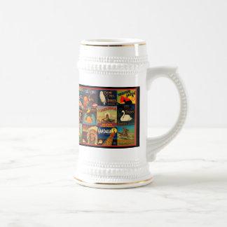 Étiquettes vintages de caisse de fruit mugs à café