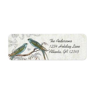 Étiquettes vintages d'oiseaux de texture en bois