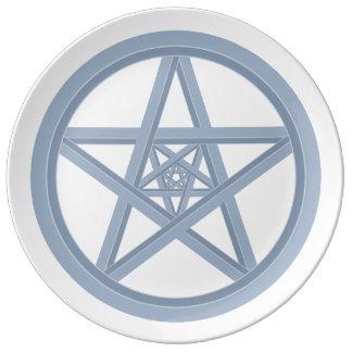 Étoile argentée en métal assiette en porcelaine