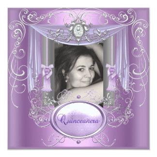 Étoile argentée rose lilas de 15ème anniversaire carton d'invitation  13,33 cm