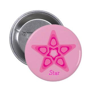 Étoile assez rose badge rond 5 cm