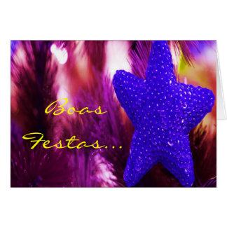 Étoile bleue d'Ano Novo de feliz de Festas e de bo
