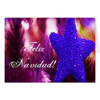 Étoile bleue de Feliz Navidad de Noël III Carte De Vœux