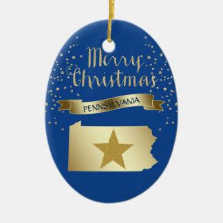 Étoile bleue de la Pennsylvanie d'or Ornement Ovale En Céramique