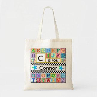 Étoile bleue d'école d'art d'alphabet d'enfants sac en toile