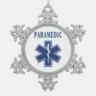 Étoile bleue d'infirmier de la vie ornement flocon de neige pewter