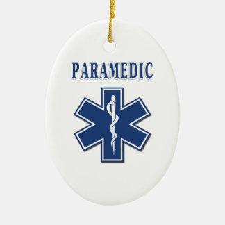 Étoile bleue d'infirmier de la vie ornement ovale en céramique