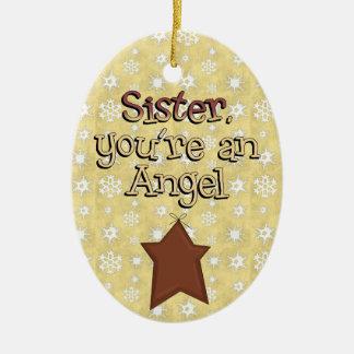 Étoile d'ange de soeur de collection de Noël Ornement Ovale En Céramique