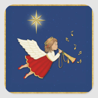 Étoile d'ange et de Noël de trompette Autocollant Carré