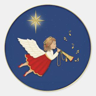 Étoile d'ange et de Noël de trompette Sticker Rond
