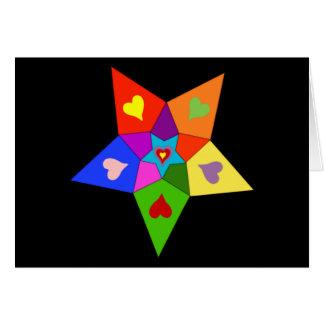 Étoile de coeurs d'arc-en-ciel cartes de vœux