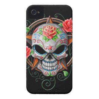 Étoile de crâne de sucre, noire coques Case-Mate iPhone 4