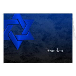 Étoile de David bleue élégante Ombre de Mitzvah de Cartes De Vœux